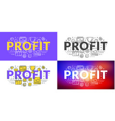 profit flat line concept for web banner and vector image