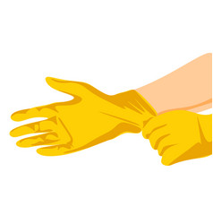 Putting latex on gloves protective latex yellow vector