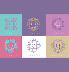 q letter pastel floral monogram lines logo design vector image