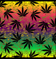 Rastafarian grunge hemp leaves vector