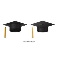 realistic graduation cap or mortar board vector image