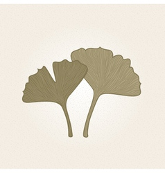 Retro hand drawn Gingko leaves isolated on brown vector image