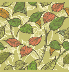 retro leaves seamless pattern vector image