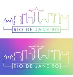 rio de janeiro skyline colorful linear style vector image