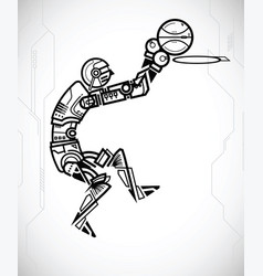 robot playing basketball vector image