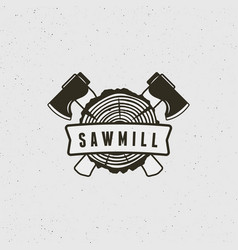 sawmill logo retro styled woodwork emblem vector image