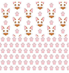 seamless patterns with ginger cat face and paw vector image