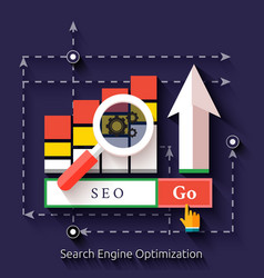 Seo search engine optimization programming process vector image