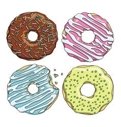 set cartoon colorful tasty donuts on white vector image