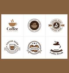 set coffee logo and label vector image