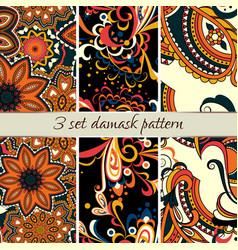 Set damask pattern vector