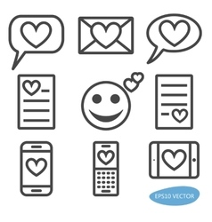 set love message icons vector image