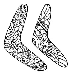 Set native boomerang coloring page for kids and vector