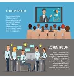 Set of business concept training meeting agreement vector image