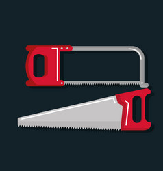 set of carpentry tools for sawing wood products vector image
