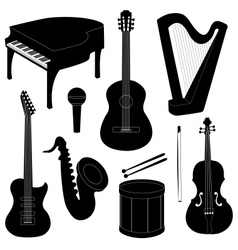 Set of musical instruments silhouettes vector