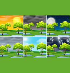 set of nature landscape different weather vector image