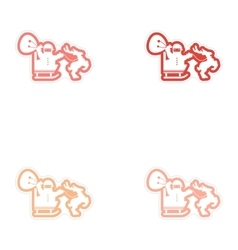 Set of paper stickers on white background Santa in vector