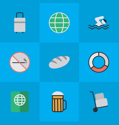 set of simple vacation icons vector image