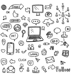 set social media icon hand drawn vector image