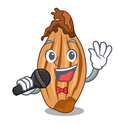 Singing ripe shallot isolated on a mascot vector