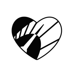 Speedometer in heart icon black symbol love and vector