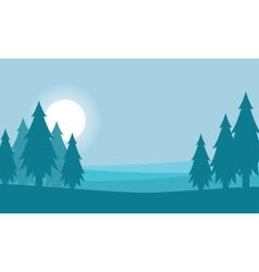 Spruce landscape silhouette vector
