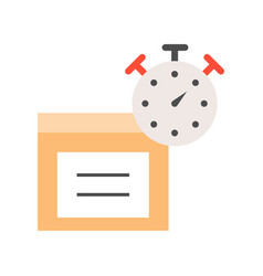 Stopwatch and parcel box flat icon estimate vector