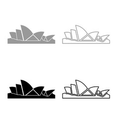 Sydney opera house icon set grey black color vector