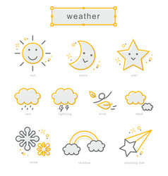 thin line icons set weather vector image