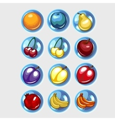 Twelve icons of fruit bananas apples and other vector