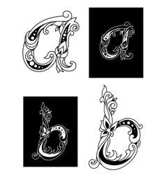 Two floral letters A and B vector