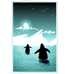 Two penguins in cold arctic night vector