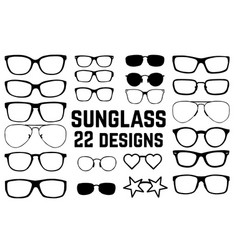 various black silhouette glasses eyeglasses frame vector image