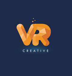 vr letter with origami triangles logo creative vector image