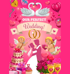 wedding card with bride and groom love symbols vector image
