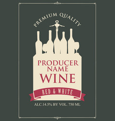 wine label with a silhouette of a still life vector image