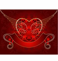 wing heart gold on red vector image