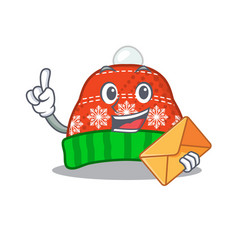 With envelope winter hat in mascot shape vector