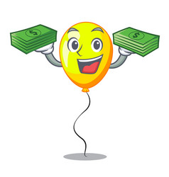 With money character yellow balloon ticket on vector