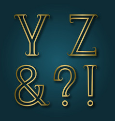 Y z shiny golden letters ampersand exclamation vector