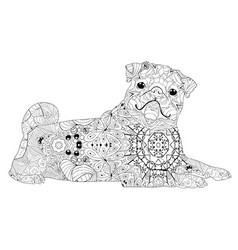 zentangle stylized dog hand drawn lace vector image