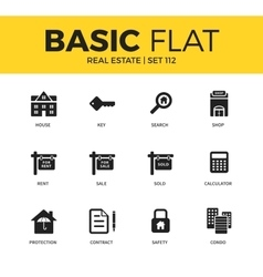 Basic set of Real estate icons vector image
