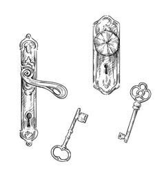 door handles and keys vector image vector image