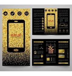 Golden elegant business brochure design vector