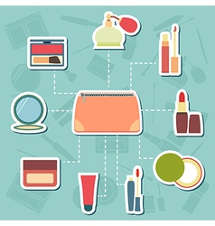 Makeup case cosmetic and beauty accessories vector image
