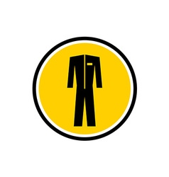 Protective special suit black silhouette in a vector image