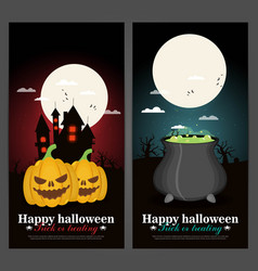 set of halloween night backgrounds vector image vector image