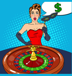 surprised woman behind roulette table vector image