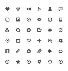 36 Simple icons with media file features vector image vector image